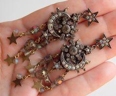 Gorgeous Vintage Kirks Folly Celestial Moon & Stars Rhinestone Dangle Earrings