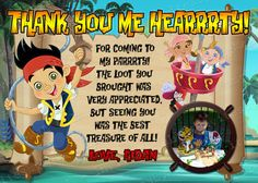 Jake and The Neverland Pirates Thank You Card by InvitesByMaL