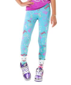 Another great find on #zulily! Turquoise Neon Signs Leggings - Girls #zulilyfinds