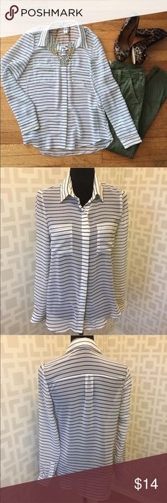 Black white striped long sleeve Chiffon top S Pit to pit measures 18.5 inches.  Length measures 25 inches in the front and 27 inches in the back Old Navy Tops Button Down Shirts