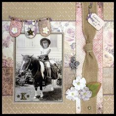 """""""Pony Ride"""" — 12x12 1-pg layout using Prima """"French Riviera,"""" """"Tales of You & Me,"""" and Bo-Bunny """"Double-Dot"""" papers, Prima stars and flowers 02.2016 — Jill Kulchinsky"""