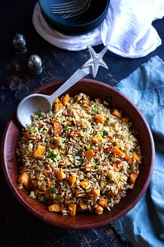 Roasted Butternut and Spinach Brown Rice Salad