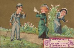 New York Traveling Rubber Company. Gilded Age, Trade Card - advertisement, c.1880s.