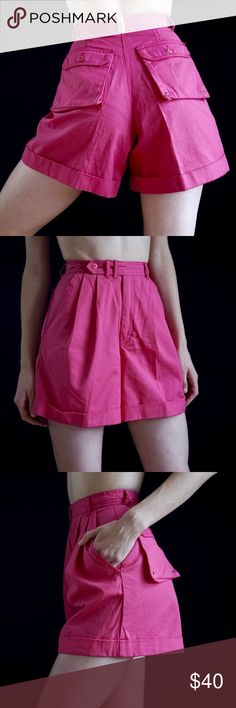 b583b008caa Vintage ESPRIT hot pink high waisted shorts Vintage ESPRIT high waisted hot  pink shorts with front pleats and cargo back pockets.