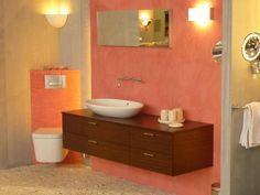 Image associée Orange, Vanity, Bathroom, Bath, Dressing Tables, Washroom, Powder Room, Bathrooms, Makeup Dresser