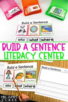 Check out this fantastic literacy center! Your kindergarten and first-grade students will have fun building and writing sentences. The color-coded word cards are great for understanding sentence parts.