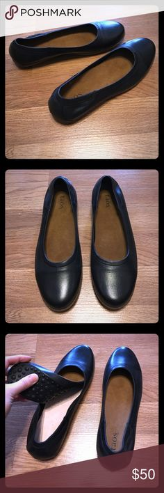 Taos Flirt Black Ballet Flat Perfect Black Ballet Flat in brand new without tags condition. They say size 39 but my size 8.5 feet fit too snugly. I usually wear a 39 so they run slightly small. Removable insole, but why remove it---luxurious leather and good for arch support. Almond toe, leather lining, great traction. Taos Shoes Flats & Loafers