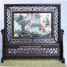 Traditional Chinese Landscape, double-sided embroidery work, one embroidery two identical sides, Chinese Suzhou silk embroidery art, Su Embroidery Studio