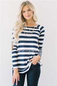 This adorable top will not last long! It is incredibly soft and is perfect for fall. Long sleeve top features wide navy and cream stripes and cute elbow patches. Modest Bridesmaid Dresses, Modest Dresses, Modest Outfits, Cute Outfits, Dresses With Sleeves, Long Dresses, Long Sleeve Tops, Long Sleeve Shirts, Navy Stripes