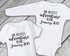 Pregnancy Announcement Onesies®, Our Greatest Adventure Begins Baby Announcement Onesies® Baby Bodysuit Announcement