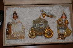 NEW Komozja Mostowski Glass Ornament CINDERELLA Wooden Hinged Box Poland