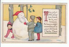 Snowman Christmas Old Postcard Vintage Margaret Evans Price Stecher Greetings   eBay