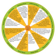 Power  Control Wheel. Types of abuse...verbal, physical, psychological, pets  property, financial, intellectual, emotional, using culture, social, using children, spiritual.