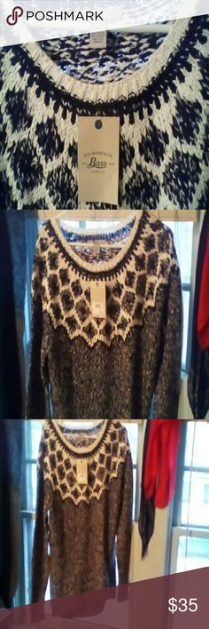 G.H. Bass SWEATER,  Fair Isle New with tags; Black & white oversized sweater,  60% cotton 40% acrylic; Very soft Bass Sweaters Crew & Scoop Necks
