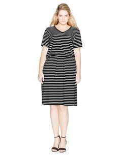 Studio V-neck striped jersey dress in Black / White