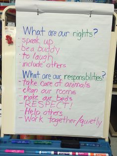 Rights and Responsibilities - first grade social studies When talking about rights and responsibilities, a chart should be a good way to first show the students what rights and responsibilities are.