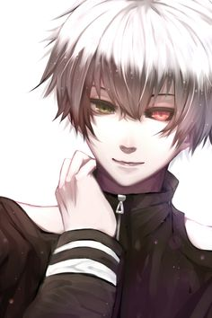 anime heterochromia / odd eyes green red (Kaneki Ken tokyo ghoul)