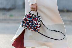 Fendi Peekaboo Mini Striped Python Satchel Bag with flower appliqués available at NEIMAN MARCUS