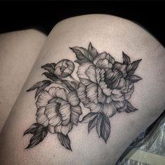 Peonies tattoo by Galya Gisca  @ tattoostudiofriendship