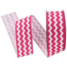 "the Ribbon Boutique 1 1/2"" Hot Pink & White Chevron Grosgrain Ribbon 