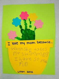 """Mother's Day craft: """"I love my mom because..."""" hand print flower bouquets!"""