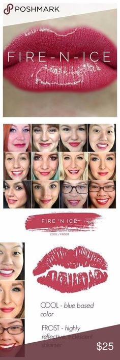 LipSense Fire n Ice Lip Color NWT A lip color that lasts up to 18 hours! Just apply per direction, gloss often and BAM! Kick but lip color that stays put.   A cool blue based color with a frost finish. Please let me know if you need gloss or remover as well! SeneGence Makeup Lipstick
