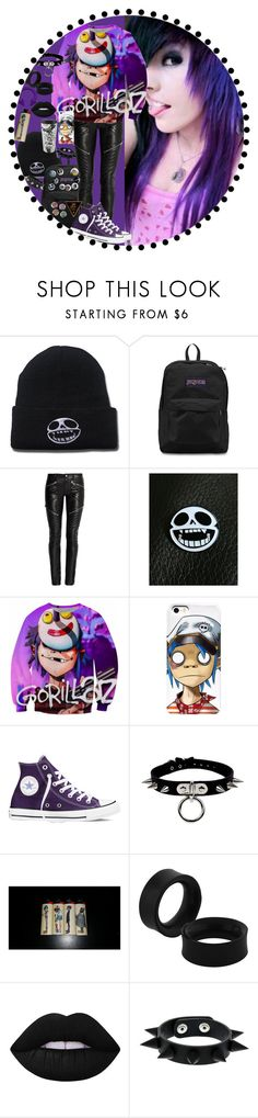 """""""Busted and Blue -Gorillaz"""" by chemicalfallout249 on Polyvore featuring JanSport, Yves Saint Laurent, Converse, Lime Crime, black, emo, bands, alternative and gorillaz"""