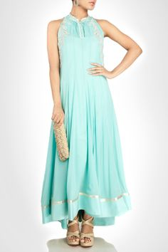 Blue halter neck georgette anarkali with pleated yolk and silver appliqué. Shop Now: www.kimaya.in