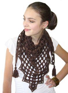 Ravelry: Pretty Triangle Scarf pattern by Kim Miller Knit Or Crochet, Crochet Scarves, Crochet Shawl, Crochet Clothes, Crochet Skirts, Knit Picks Yarn, Knitting Patterns, Crochet Patterns, Scarf Patterns