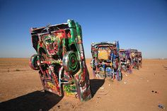 """Route 66 Fine Art Photography. Cadillac Ranch. Ten Cadillacs stuck in the ground in a cow field near Amarillo, Texas, on old Rt. 66. """"The Fine Art Photography of Frank Romeo."""""""