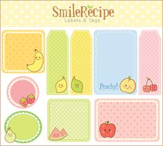 Smile Recipe – Art, Craft & Design »Blog Archive » Printable – Fruity Labels & Tags