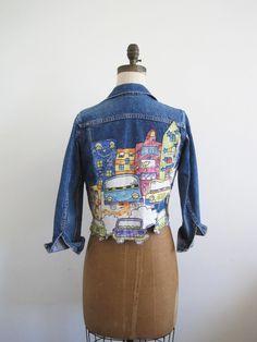 Vintage CITYSCAPE Altered Jean Jacket. $46.00, via Etsy.