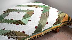 Log Cabin Quilt, Twin Bed, Full Bed Quilt, Quilted Blanket, Green White, Dorm Bedding, Patchwork Quilt, Quiltsy Handmade by RedNeedleQuilts on Etsy