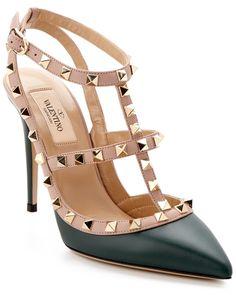 Valentino Rockstud Leather Slingback Pump Blue - cute shoes :)