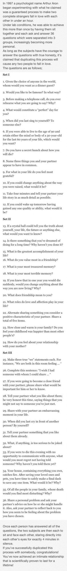 Questions to ask when getting to know someone. Great conversation starters.: