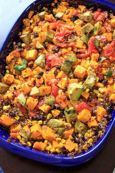 Butternut squash and other vegetables mixed together with quinoa makes a delicious vegetarian, gluten-free, and vegan friendly casserole for the whole family. Quinoa Squash, Butternut Squash, Lime Quinoa, Vegan Friendly, Casserole Dishes, Dinner Recipes, Dinner Ideas, Beans, Recipes