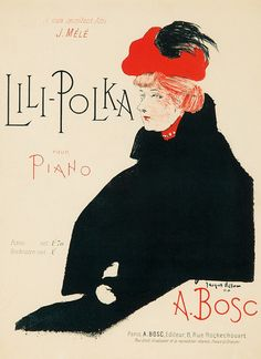 """Music Sheet cover by Jacques Villon (1875-1963), 1900, """"Lili-Polka"""". A. Bosc was the orchestra leader at the Moulin Rouge."""