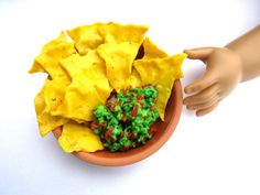 Tortilla Chips and Tomato-Avocado Guacamole from Mexico - Handmade Gourmet Doll Food For Your American Girl Doll