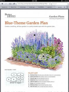 BHG garden plan – Garden Design ideas - How to Make Gardening Garden Design, Flower Garden Plans, Plants, Cottage Garden, Front Yard Landscaping, Shade Garden, Garden Planning, Backyard Plan, Blue Garden