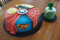 Avengers superhero themed cake with matching Hulk smash cake
