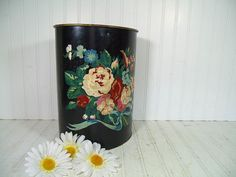 Vintage Paint By Number Black Metal Oval Waste Bin - Mid Century DIY Hand Painted ToleWare Colorful Floral Onyx Enamel Shabby Chic Trash Can