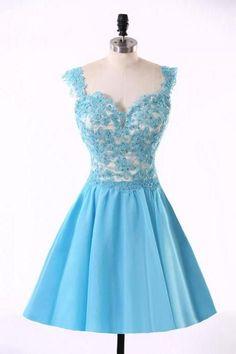 Sky Blue Lace Homecoming Dress, Satin Short Mini Prom Dress, A-line Backless Homecoming Dresses