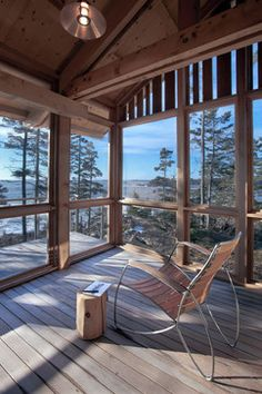 What a view of Portland, Maine from this contemporary screened In Porch by Whitten Architects
