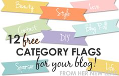Set of Twelve Free Blog Category Flags by Kira of @Kira @ Her New Leaf