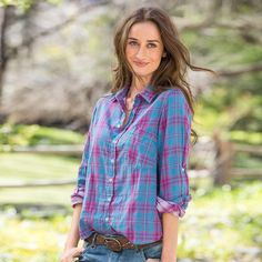 "JOYFUL PLAID SHIRT -- CP Shades takes cool comfort to a new level with an unexpected plaid button-up shirt in cheerful hues and softened cotton. Cotton. Machine wash. USA. Exclusive. Sizes XS (2), S (4 to 6), M (8 to 10), L (12 to 14), XL (16). Approx. 27-1/2""L.View our entire CP Shades Collection"