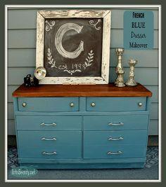 From BLONDE to BRUNETTE! French Blue Dresser Makeover