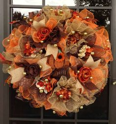 Autumn Ruffle Design Deco Mesh Wreath in Orange, Chocolate/Copper and Burlap