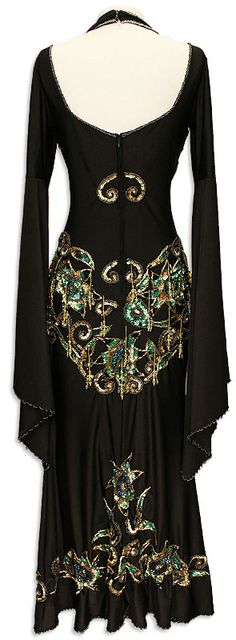 Black & Gold Sequin Jeweled Egyptian Dress In Stock Belly Dance Costume - At DancingRahana.com