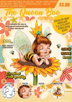 The Queen Bee - Digital Stamp Queen Bee Images, A4 Sheet Size, Colored Paper, Digi Stamps, Queen Bees, Paper Background, Colorful Pictures, Digital Image, Outline