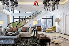 Luxury Living Room, Classic Stair, Ho Chi Minh City, Vietnam. Designed by Gil Design Gildesign.vn